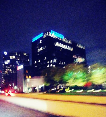 Night City Building Exterior Architecture Illuminated Built Structure Road Street Transportation Sky Car No People Motor Vehicle Building Mode Of Transportation Nature Motion Outdoors City Life Office Building Exterior