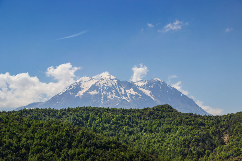 Albania Beauty In Nature Blue Cloud - Sky Environment Green Color Idyllic Land Landscape Mountain Mountain Peak Nature Outdoors Plant Scenics - Nature Sky Snowcapped Mountain Tranquil Scene Tranquility Travel Destinations Tree Volcanic Crater Volcano