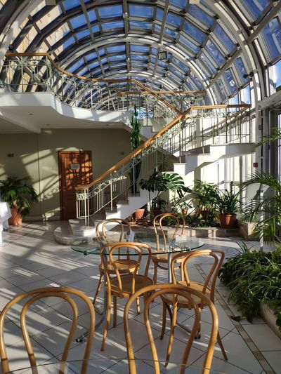 Springtime Cafe Time Cafeteria Glass Glasstable Architecture Buildings & Sky Spring Glass - Material Glassbuilding Greenhouse Chair City Architecture Built Structure
