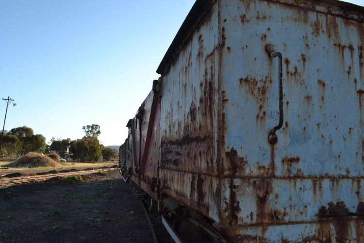 Abandoned Carriages  Clear Sky Day No People Outdoors Rail Carriage Rail Transportation Rusty