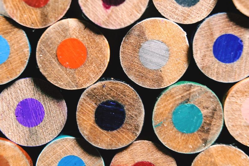 Close-Up Of Colored Pencil Cross Section