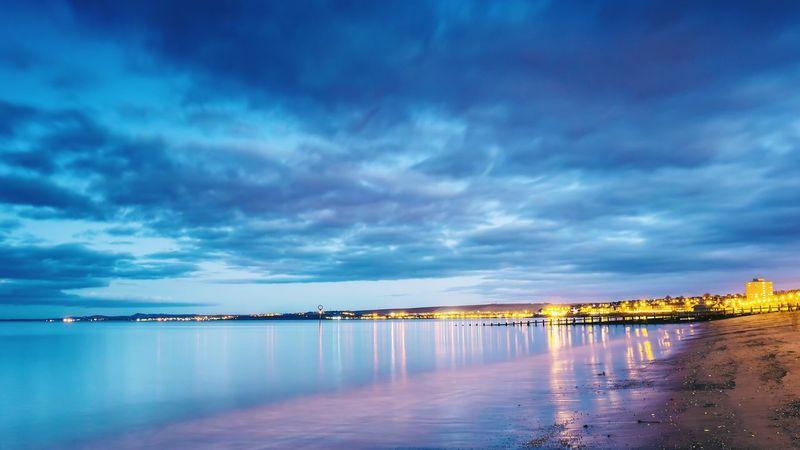 Portobello beach Edinburgh Portobello Beach, Edinburgh Scotland Beach Seaside Shore Sea Water Sky Clouds Clouds And Sky Dusk Lights Longexposure Reflection Scenics Landscape Tranquility Tranquil Scene