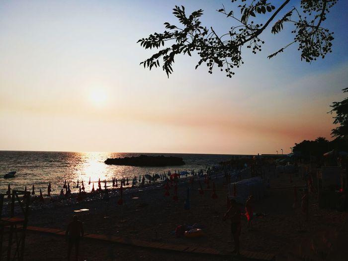 Beach Sea Sunset Horizon Over Water Summer Vacations Sand