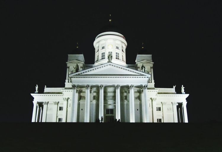Architecture Built Structure Building Exterior Façade Religion Architectural Column Spirituality Night Religion History Clear Sky Church Dome Place Of Worship Pediment Sky Outdoors Entrance Famous Place Tourism Tuomiokirkko (helsinki Cathedral) Church Dom Helsiki Architecture Connected By Travel