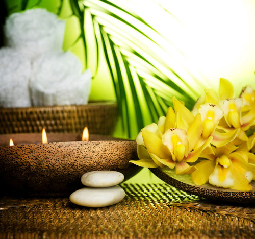 Alternative Medicine Alternative Therapy Aromatherapy Beauty In Nature Beauty Spa Body Care Candle Close-up Flower Green Color Health Spa Healthcare And Medicine Leaf Nature Pebble Rock - Object Scented Selective Focus Spa Treatment Still Life Stone - Object Tranquil Scene Wellbeing Yellow Zen-like
