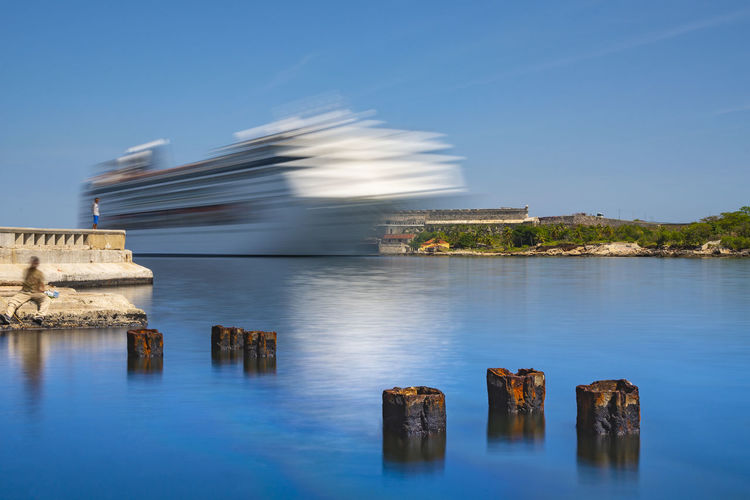 the arrival Ship Travel Havana Bay Harbor Sailing Tourism Cruise Liner Waterfront Cruise Long Exposure Water Sea Blue Sky Architecture Building Exterior Cloud - Sky Shore Coast Seascape Tide Coastal Feature Coastline Ocean Rushing