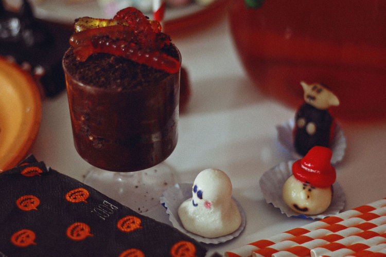 Halloween, 2017 Chocolate Dessert Halloween Animal Animal Representation Close-up Drink Focus On Foreground Food Food And Drink Food Photography Freshness Healthy Eating Indoors  No People Plate Ready-to-eat Red Representation Still Life Sweet Sweet Food Sweets Table Wellbeing