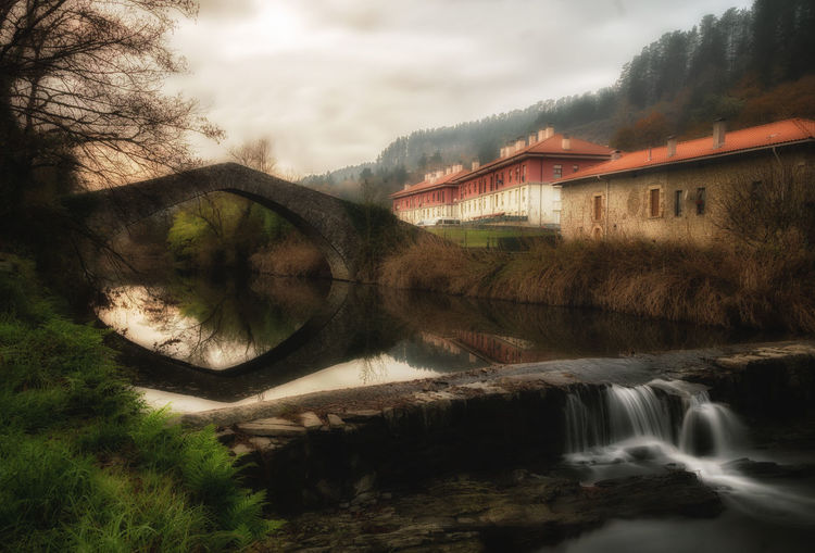 Luyando Bridge Architecture BasqueCountry Beauty In Nature Bridge Close-up Cloud - Sky Day Grass Nature No People Outdoors Reflection Sky Tranquility Tree Water
