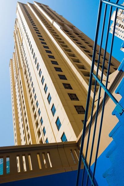 Marina Dubai Built Structure Architecture Low Angle View Building Exterior Building Sky Blue City No People Office Building Exterior Clear Sky Day Nature Modern Office Sunlight Railing Outdoors Window Tall - High Skyscraper