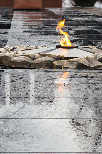 Fire Flame Burning Water No People Outdoors Reflection Great Patriotic War Eternal Peace Eternal Flame