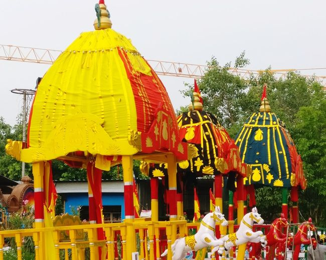 Outdoors Multi Colored Jagannathtemple Jagannath Rath Yatra Chariots Temple Diaries Hyderabad,India Hyderabad Banjarahills Canon800D Canonphotography Low Angle View