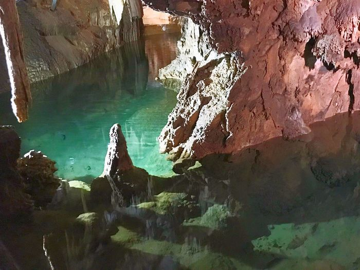 Underground River Cave Water Rock Nature Rock - Object Solid Day Sea Beauty In Nature Rock Formation Reflection High Angle View Turquoise Colored