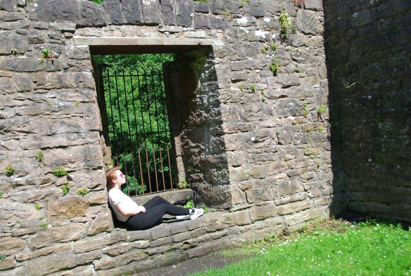 Cramond Stone Wall One Woman Only Relaxation Young Adult Edinburgh Scotland
