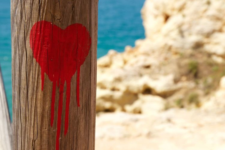 Bleeding heart, Life IS a beach Art Beach Beachphotography Beauty In Nature Bleeding Heart  Blue Close Up Close-up Fine Art Photography Focus On Foreground Graffiti Heart Multi Colored Nature No People On The Way Outdoors Paint Red Red Rock Formation Sea Tranquil Scene Wood - Material Wooden
