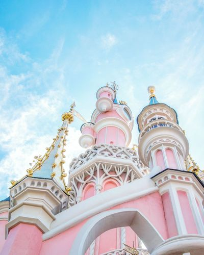 Cloud - Sky Low Angle View Day Outdoors Travel Destinations No People Sky Architecture Disney Disneyland Paris Castle Pink
