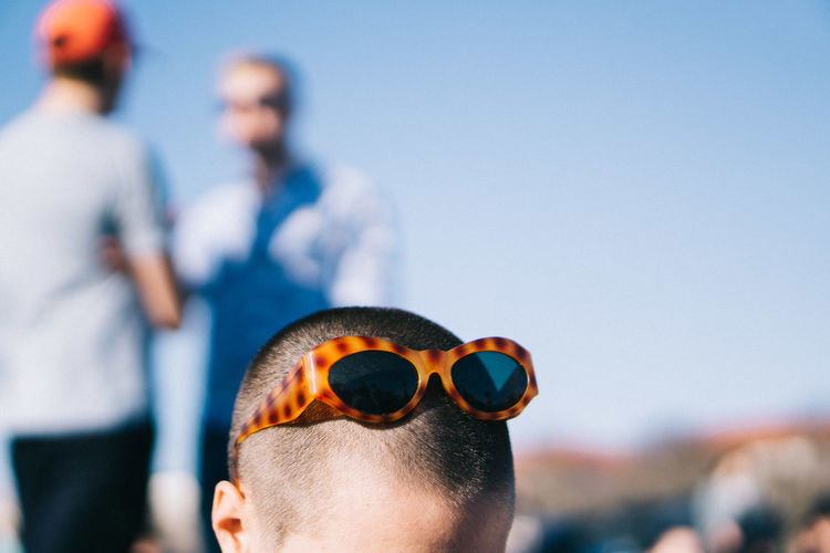 Close-Up Of Boy Wearing Sunglasses On Head