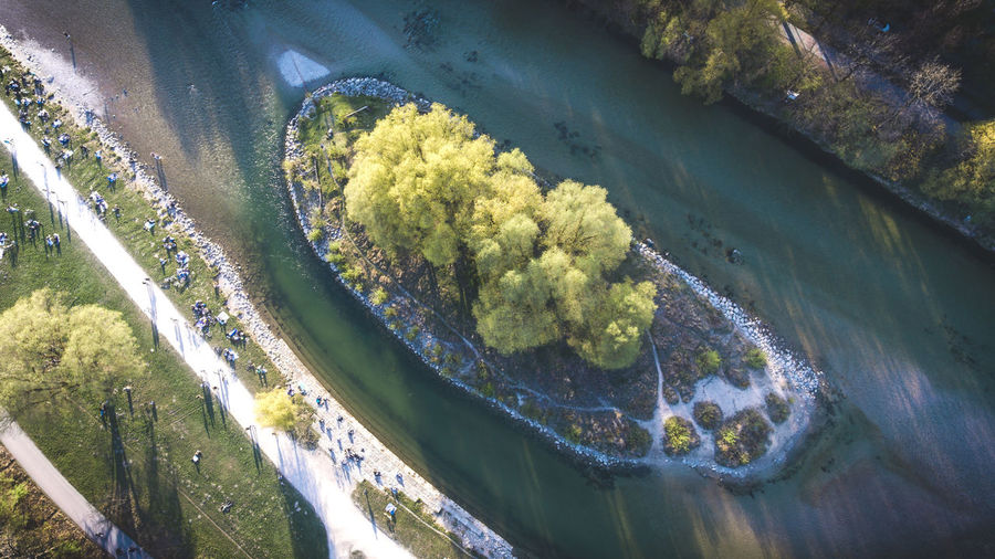 This little island is starting to get green again... during summer it is like an awesome hippie party on there... worth a visit if you are in Munich. Aerial View City Day Isar Island Munich Nature Outdoors People Shadows & Lights Spring Trees Water