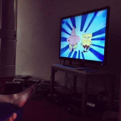 Watching Spongebob at village
