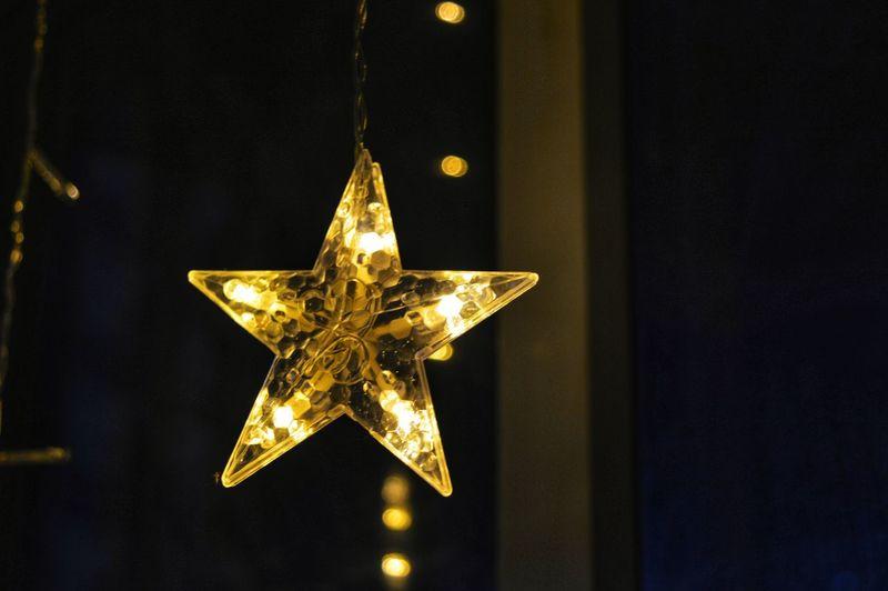 Close-up of illuminated christmas lights at night