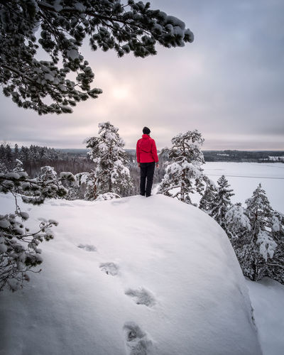 Hiker standing with red jacket at winter evening on top of the hill in Finland Finland Footpath Hiking Man Nature Tranquil Beauty In Nature Cloud - Sky Cold Temperature Forest Hiker Landscape Nature One Person Outdoors Real People Red Jacket Scenics Snow Snow Covered Standing Tranquil Scene Tranquility White Winter