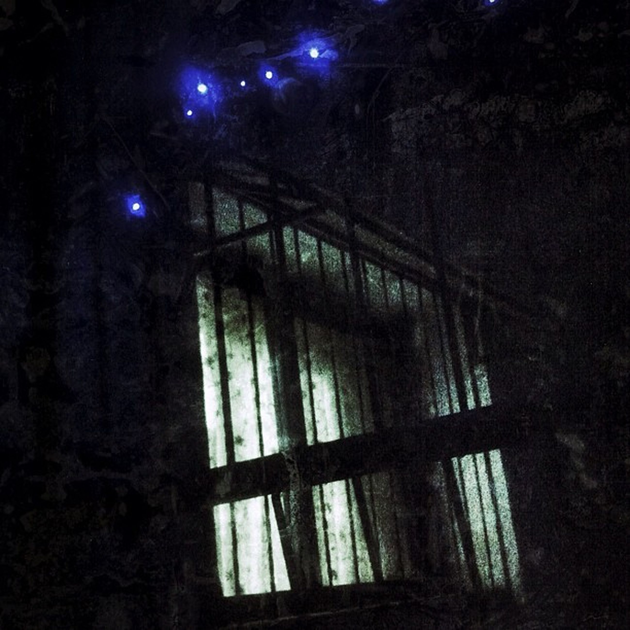 night, illuminated, dark, built structure, architecture, low angle view, indoors, window, lighting equipment, tree, light - natural phenomenon, no people, railing, building exterior, wood - material, entrance, house, building, closed