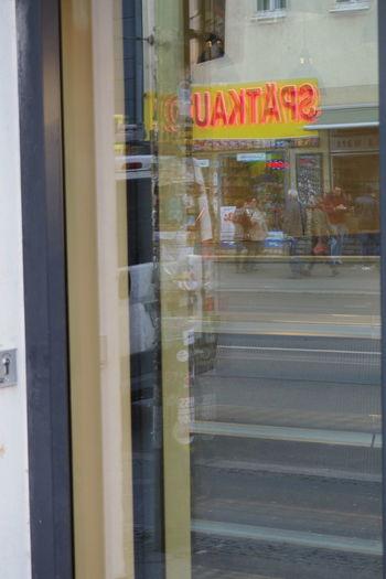 Berlin Blurred Motion Communication Depth Of Field Door Full Frame Glass Glass - Material Reflection Sign Späti Spätkauf Transparent Window Window Reflection