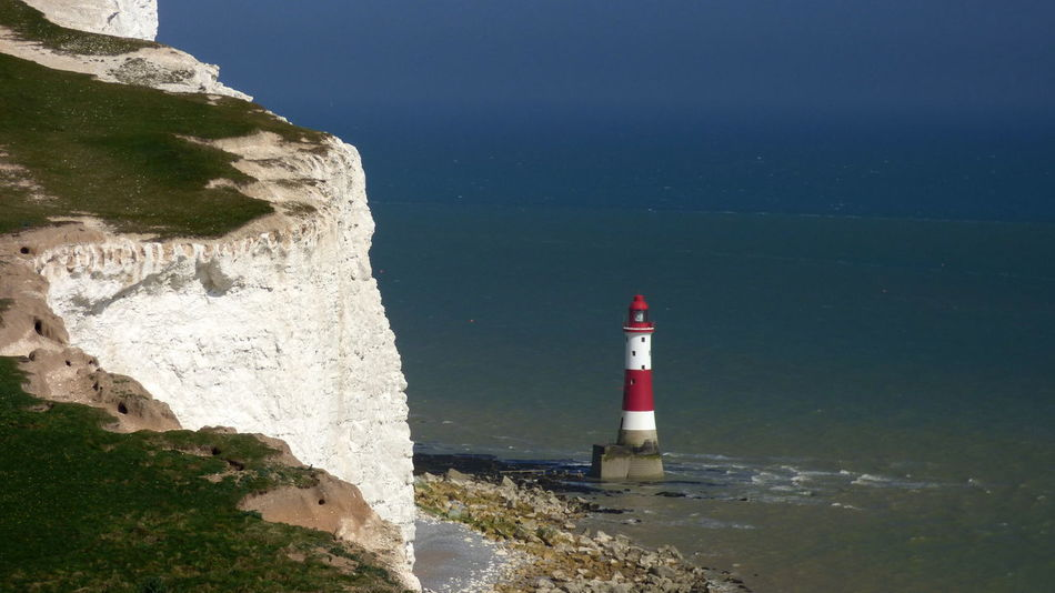 Beachy Head Lighthouse Beachy Head Beachy Head Lighthous Blackandwhite Blue Coastline Day English Channel Horizon Over Water Lighthouse No People Outdoors Red Red And White Rock Formation Scenics Sea Stripes Everywhere Water