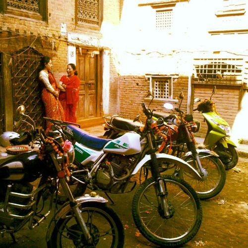 our bikes lined up for puja. Dashain Nawami