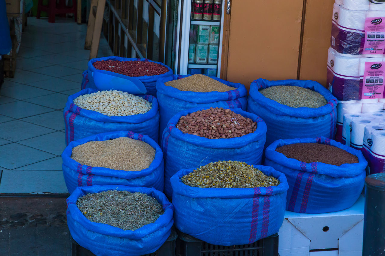 High Angle View Of Various Food For Sale At Store