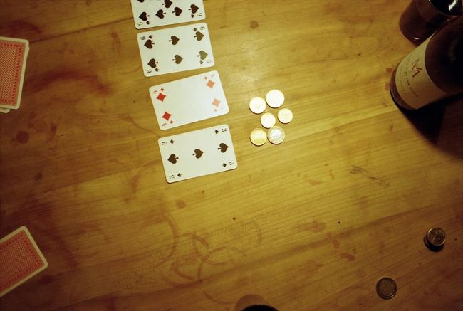 My Smartphone Life Wine Poker Night Playing Playing Poker Playing Cards Evening Playing Games Table Wooden Table Money Coins Coins On The Table Euro