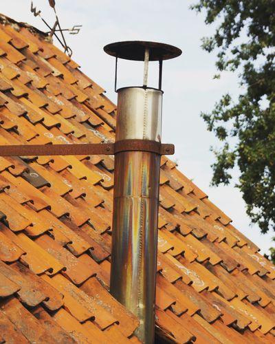 Roof Schornstein Red Color Tree Rooftop