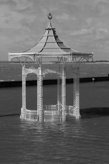 Bandstand Amidst Water During Flood