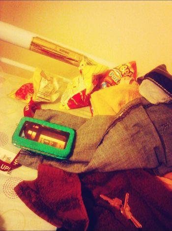 my bed lol. chips wallet school id keys <<<<<