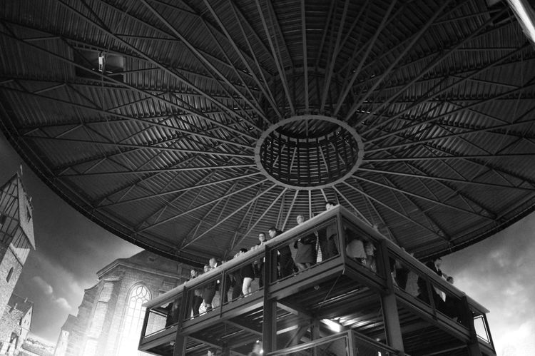 Architecture Asisi Built Structure Ceiling Exhibition Guests Indoors  Low Angle View Metallic Modern Panorama Visitor Steel Constraction Monochrome Photography Black & White Blackandwhite Black And White