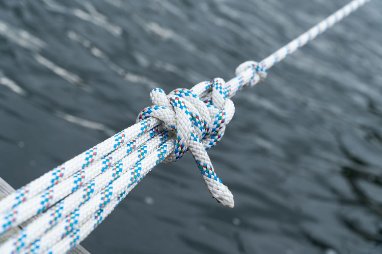 High angle view of ropes tied over sea