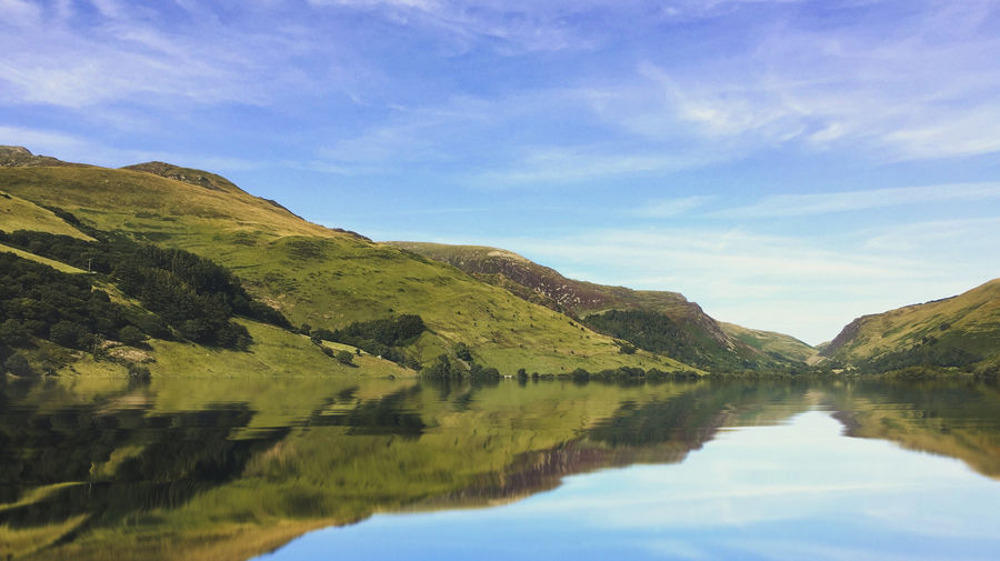 Snowdonia National Park Water Sky Tranquil Scene Tranquility Scenics - Nature Beauty In Nature Mountain Lake Reflection Cloud - Sky Nature Non-urban Scene Day No People Landscape Idyllic Waterfront Green Color Environment Outdoors