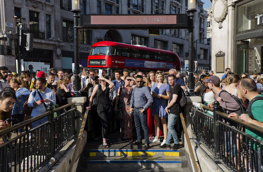People outside the underground station in Oxford Street on 3rd of July 2018 in London, United Kingdom. Oxford Circus is a London Underground station serving Oxford Circus at the junction of Regent Street and Oxford Street and is the third busiest station in London. (photo by Lorenzo Grifantini) Oxford Circus Tube Underground Crowd Group Of People Large Group Of People Lifestyles Mode Of Transportation Outdoors Peak Public Transportation Railing Street Transportation
