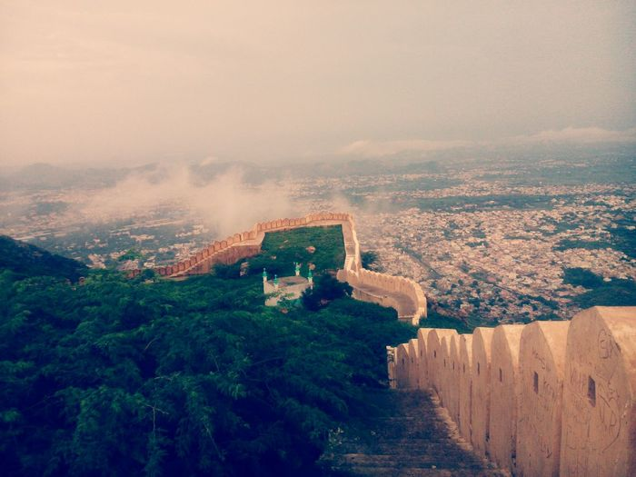 Wall Of Amber Fort Against Cityscape
