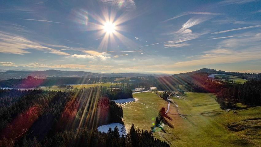 DJI X Eyeem Allgäu Isny Beauty In Nature Cloud - Sky Day Landscape Lens Flare Mountain Nature No People Outdoors Scenics Sky Sun Sunbeam Sunlight Tranquil Scene Tranquility Tree