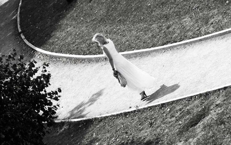 Curve Day Girl In White High Angle View Outdoors Solitude Tranquility People And Places Black And White Monochrome Photography Blackandwhite Black & White Blackandwhite Photography