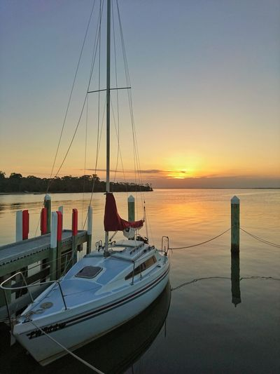 Boat Water Sunset Sky Outdoors Nature Beauty In Nature Horizon Over Water Horizon No People Easter