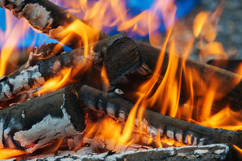 Close-Up Of Firewood Burning