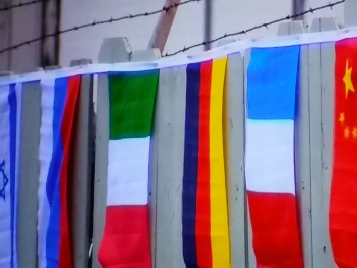 Flags In Order Barbedwire Red White Blue Yellow Green Colour Of Life