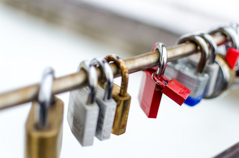 Assurance Attached Bank Chain Close-up Connection Day Double Protection Focus On Foreground Hanging Insurance Key Love Lock Metal Outdoors Padlock Prison Protection Railing Red Safe Safety Security Security System Steel