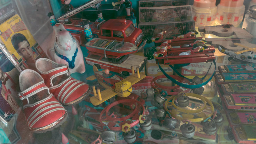High angle view of toys for sale