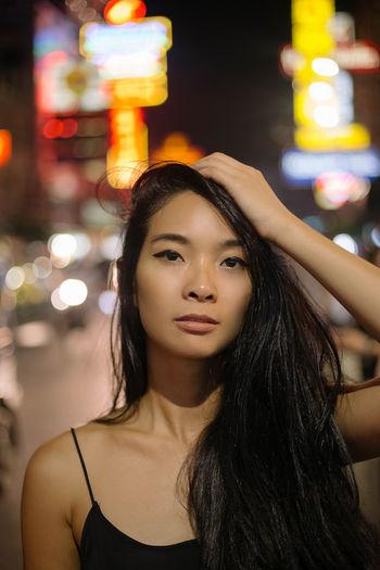 Alone Asian  Bangkok Bangkok Thailand. Chinatown Chinatown Bangkok Girl Power Night Photography Nightphotography Thai Thailand Asian Girl Beautiful Woman Chinese Woman Portrait