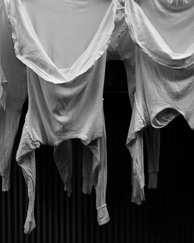 Panoramic view of clothes hanging on fabric