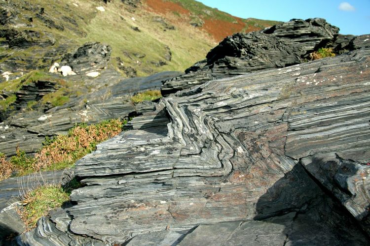 High angle view of natural patterns on rock formation at cornwall
