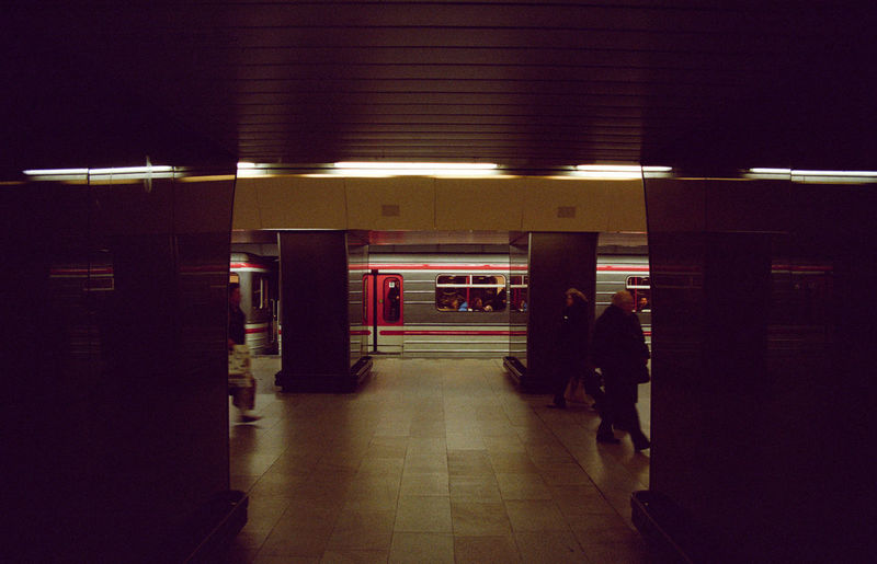 Prague Built Structure Illuminated Indoors  Men Night People Real People Subway Station Transportation