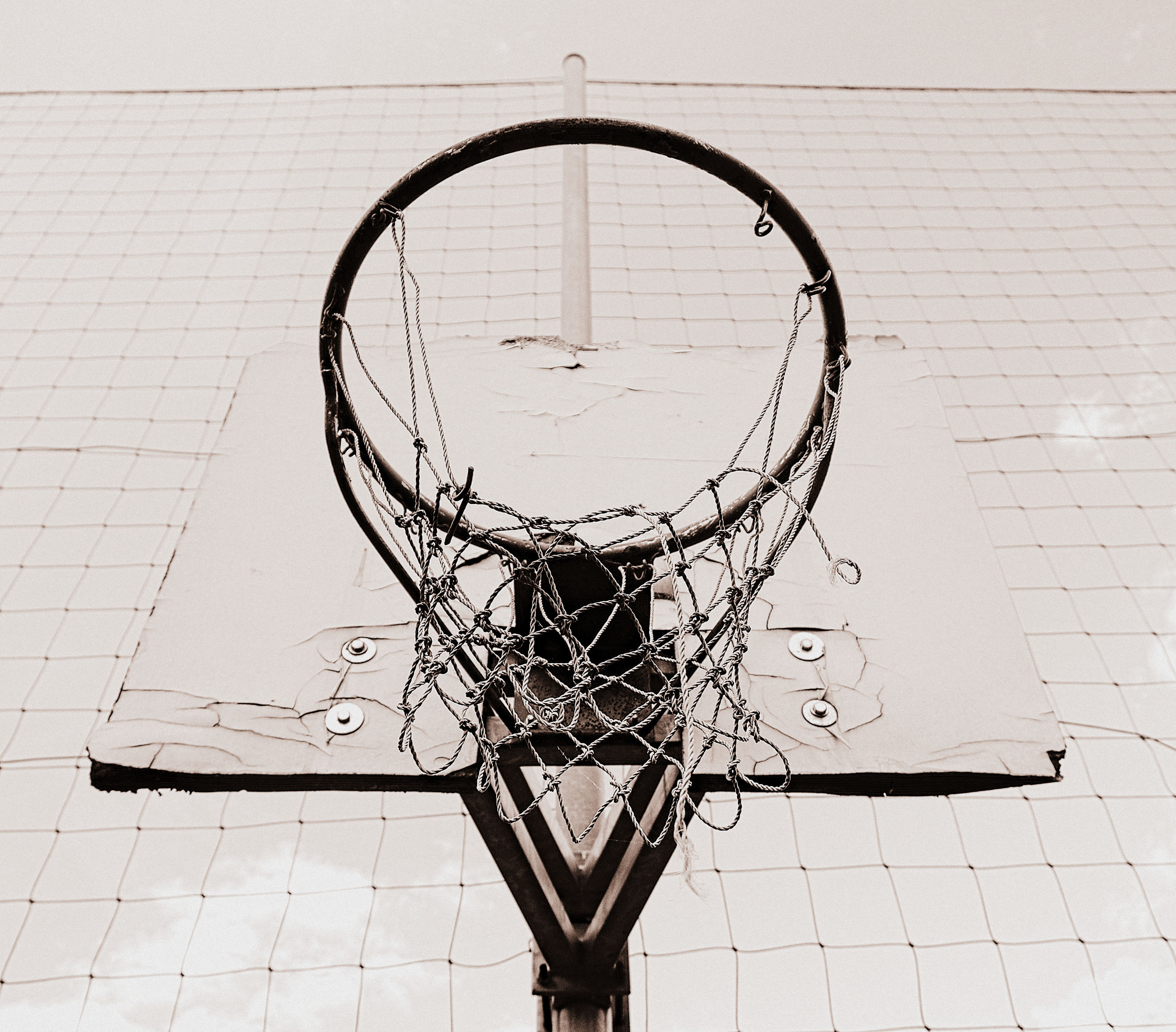 basketball - sport, basketball hoop, net - sports equipment, sport, no people, wall - building feature, day, geometric shape, metal, shape, circle, outdoors, high angle view, nature, close-up, basket, architecture, team sport, relaxation